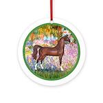 Garden (Monet)-Brown Horse (Ar) Ornament (Round)