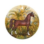 Morning (Monet)-Brown Horse (Ar) Ornament (Round)