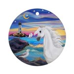 Rocks-Sea/White Horse (Ar) Ornament (Round)