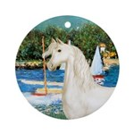Saialboats-White Arabian Horse Ornament (Round)
