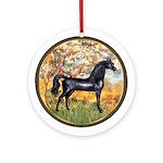Spring/black Arabian horse Ornament (Round)