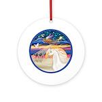 Angel Star-White ArabianHorse Ornament (Round)