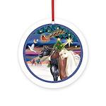 XmasMagic-3 Arabian Horses Ornament (Round)