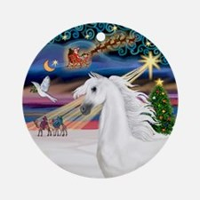 XmasMagic-White Arabian Horse Ornament (Round)