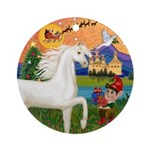 XmasFantasy/White Horse (Ar) Ornament (Round)