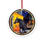 Cafe - Black Arabian Horse Ornament (Round)