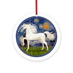 Starry Night-White Arabian Horse Ornament (Round)