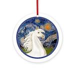 Starry Night-White Horse (Ar por) Ornament (Round)