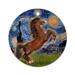 Starry / Brown Horse Rearing Ornament (Round)