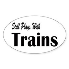 Plays With Trains Oval Decal