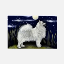 Samoyed Dog Full Moon Rectangle Magnet