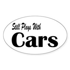 Plays With Cars Oval Decal