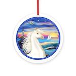 Rocks-Sea/White Horse (Ar1b) Ornament (Round)
