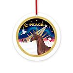 Xmas Sunrise/Brown Arabian Horse Ornament (Round)