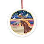 XmasStar-Brown Arabian Horse Ornament (Round)