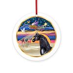 XmasStar-Black Arabian Horse Ornament (Round)