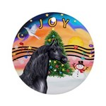 XmasMusic2-Black Arabian Horse Ornament (Round)