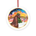 XmasMusic2-Brown Arabian Horse Ornament (Round)