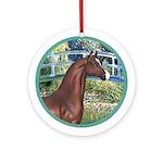 Bridge (Monet)-Brown Horse (Ar) Ornament (Round)