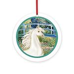 Bridge/White Arabian Horse Ornament (Round)