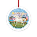 Angel Star-White Horse Ornament (Round)