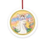 Blessing-White Horse Ornament (Round)