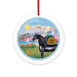 Angel Star/Black Horse (Ar) Ornament (Round)