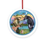 St Francis/Black Horse (Ar) Ornament (Round)