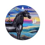 Rocks-Sea/Black Horse (Ar)Ornament (Round)