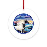 Rocks-Sea-Two Horses (blk-W) Ornament (Round)