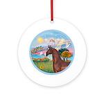 Angel Star-Brown Horse (Ar) Ornament (Round)