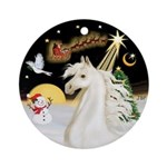 NightFlight-White Horse (Ar) Ornament (Round)