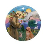 StFrancis-Horse(A)-Golden Ret. Ornament (Round)