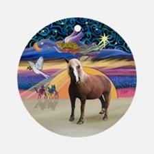 XmasAngel - Haflinger Horse Ornament (Round)