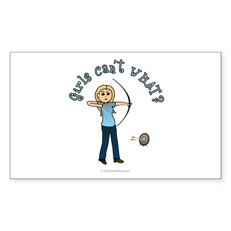 Blonde Blue Archery Rectangle Sticker