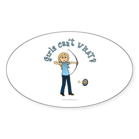 Blonde Blue Archery Oval Sticker