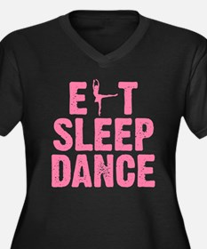 EAT SLEEP DANCE Women's Plus Size V-Neck Dark T-Sh