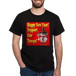Patriotic Snowman Happy New Y Black T-Shirt