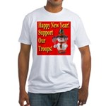 Patriotic Snowman Happy New Y Fitted T-Shirt