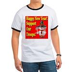 Patriotic Snowman Happy New Y Ringer T
