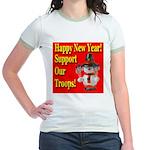 Patriotic Snowman Happy New Y Jr. Ringer T-Shirt