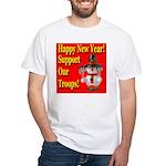 Patriotic Snowman Happy New Y White T-Shirt