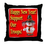 Patriotic Snowman Happy New Y Throw Pillow