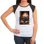 Queen / Cocker Spaniel (blk) Women's Cap Sleeve T-