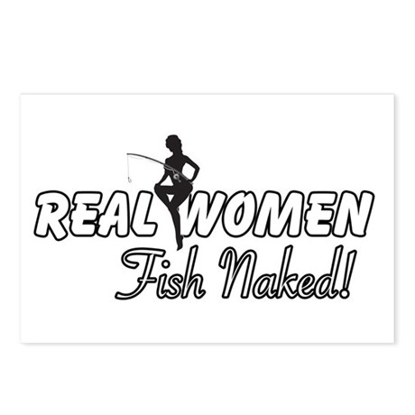 Real Women Fish Naked Postcards (Package of 8)