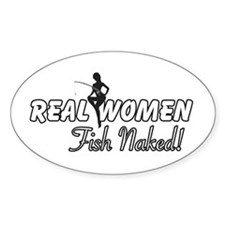 Real Women Fish Naked Oval Decal