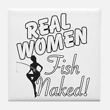 Real Women Fish Naked Tile Coaster