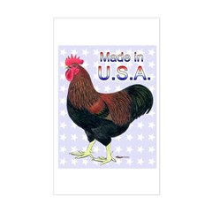 Made In USA Rock Rooster Rectangle Decal