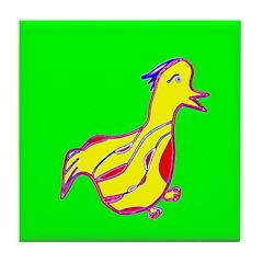 Duck Ceramic Tile Coaster / Trivet Green & Yel