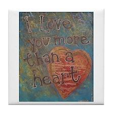 I love you more than a Heart Tile Coaster